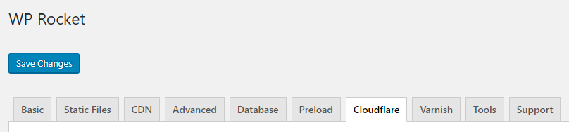 WP Rocket Cloudflare Tab