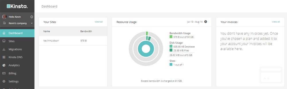Kinsta Dashboard Data