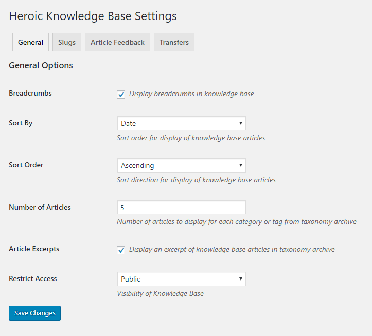 Heroic Knowledge Base General Settings