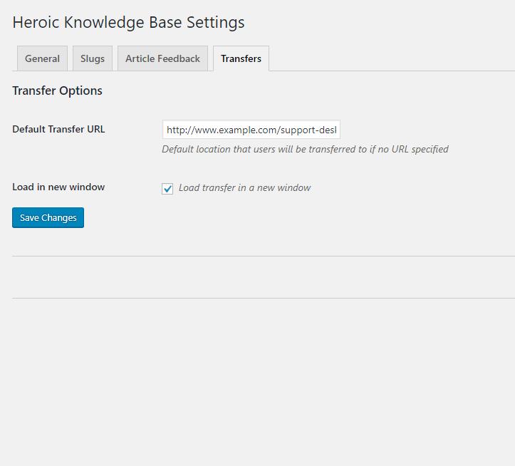 Heroic Knowledge Base Transfers Settings