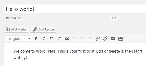 Add Recipe Button