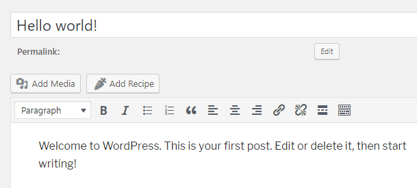 Add Recipe Button