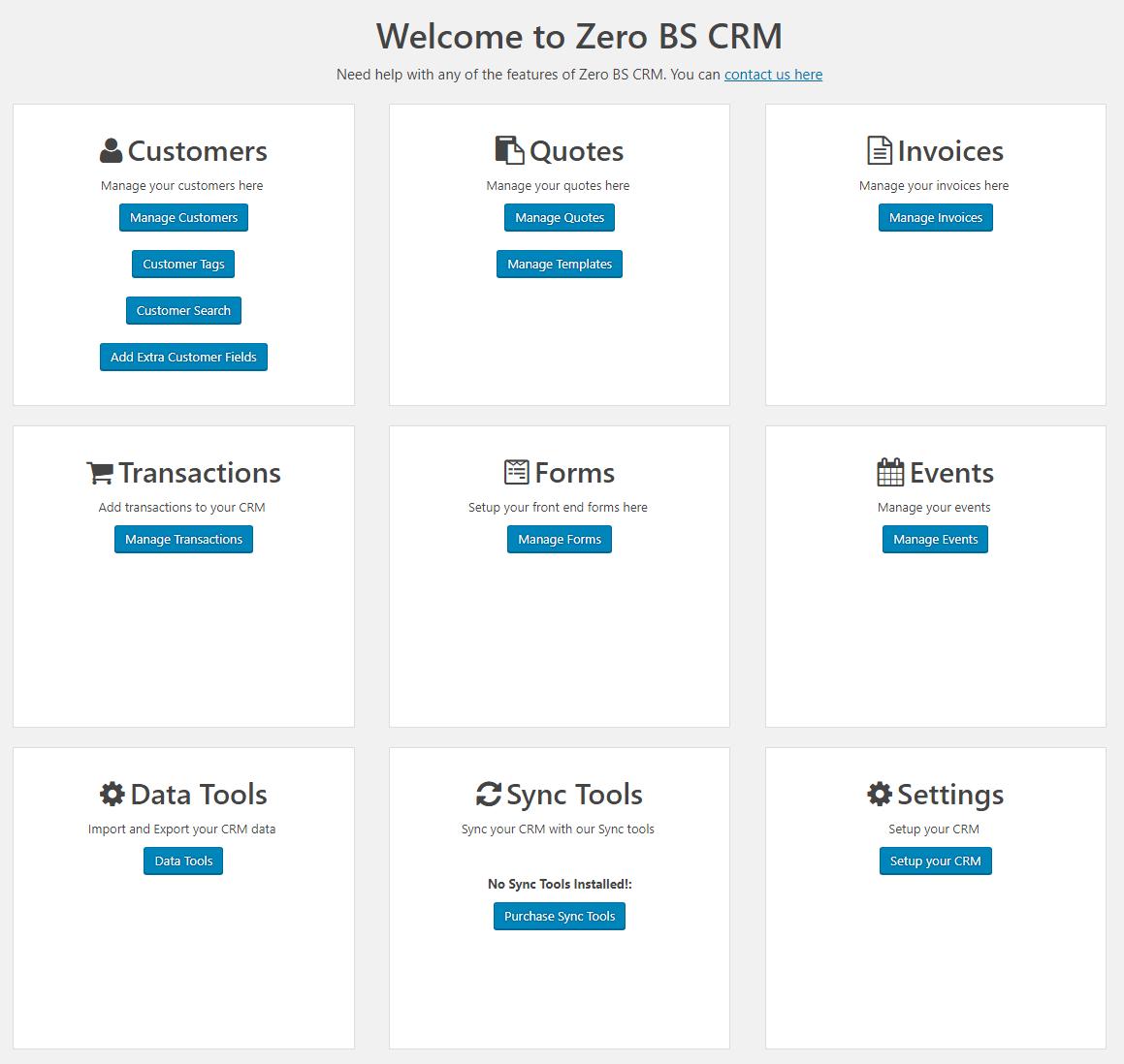 Zero BS CRM Main Panel