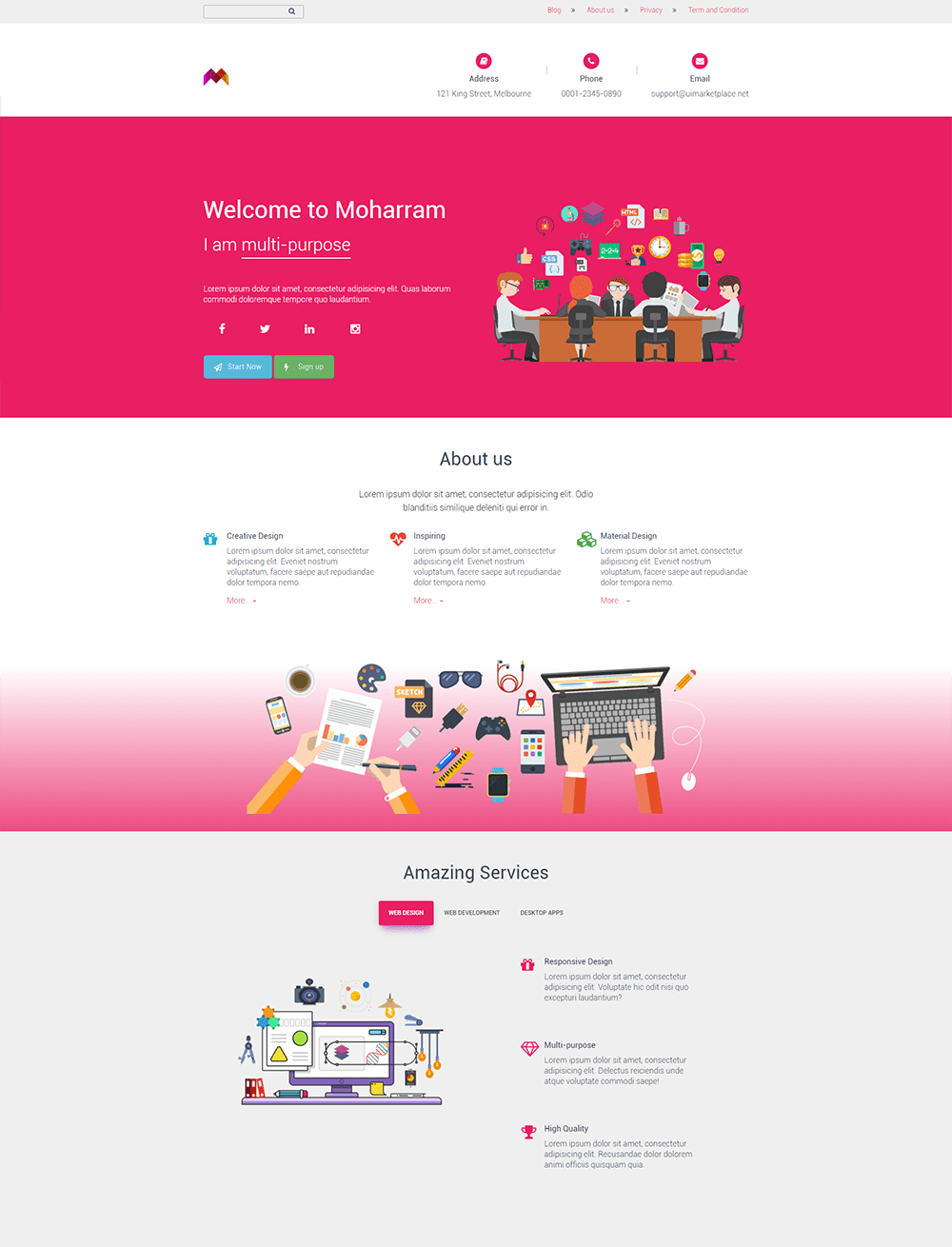 Moharram Landing Page WordPress Theme