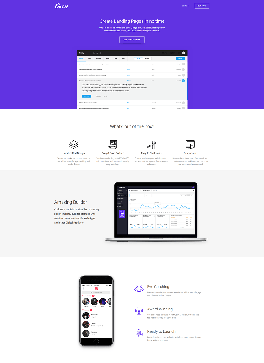 Owen - Responsive Landing Page WordPress Theme