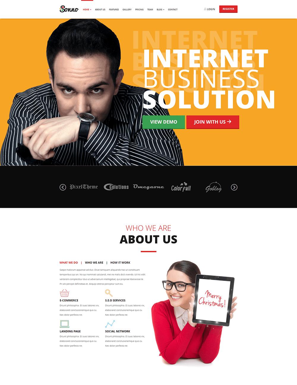 Sonno Landing Page WordPress Theme