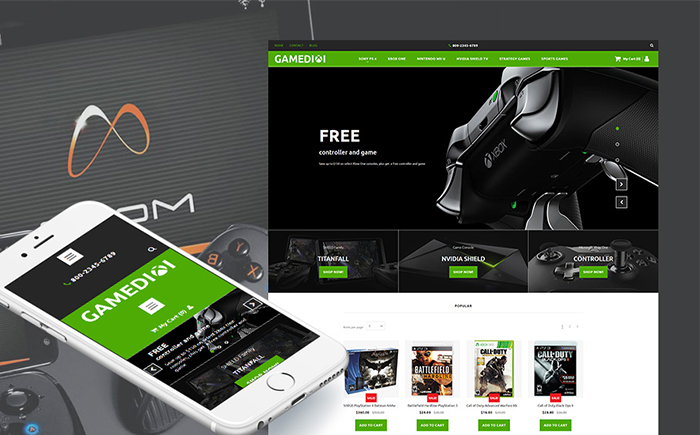 Catchy Game Portal Moto CMS Ecommerce Template