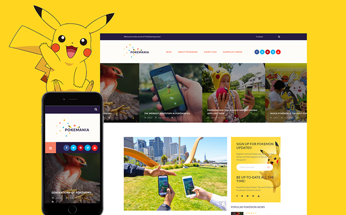 Game Portal Pokemon GPL WordPress Theme