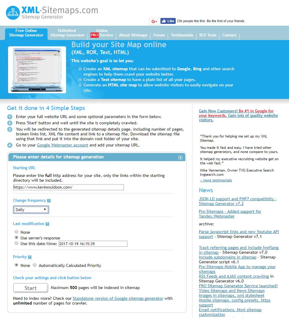 XML Sitemaps Sitemap Generator