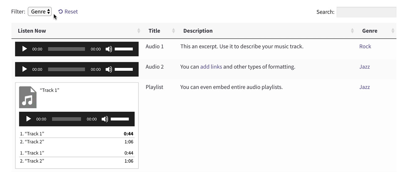 Screenshot of a sortable WordPress audio library
