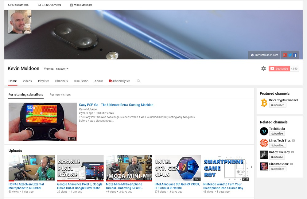 My Tech YouTube Channel Home Page
