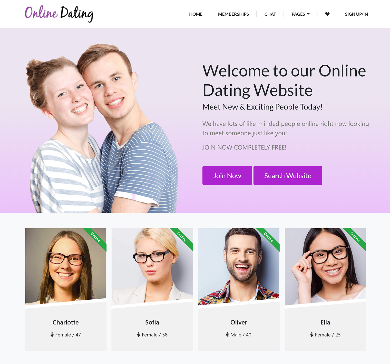Love story - dating wordpress theme free