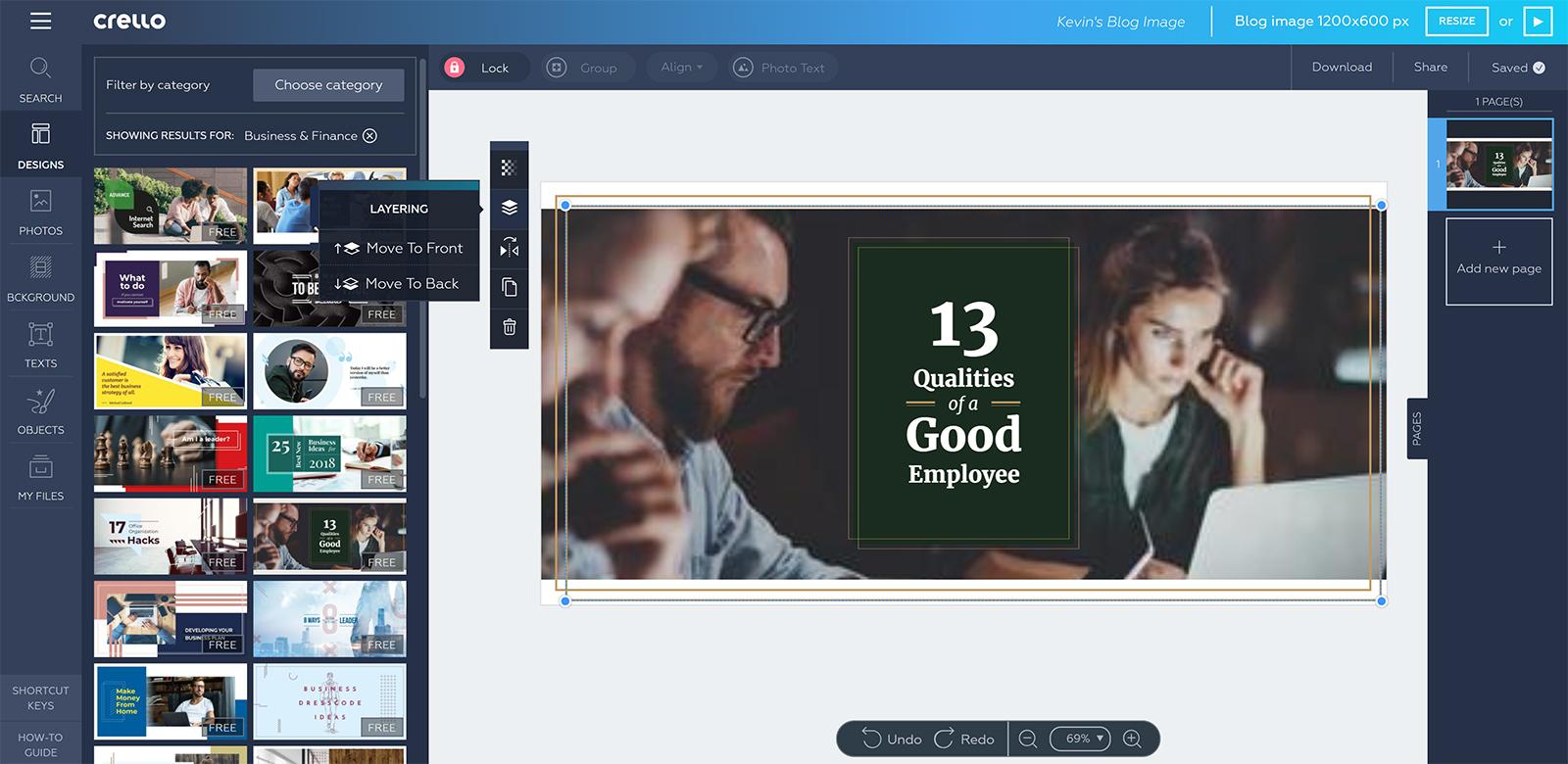 The Crello Visual Editor