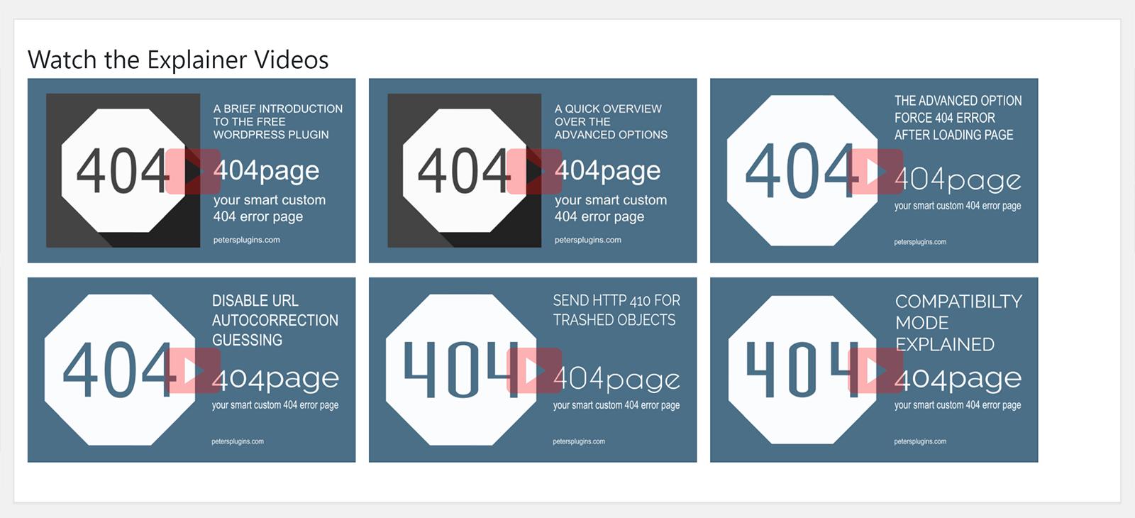 404Page Explainer Videos