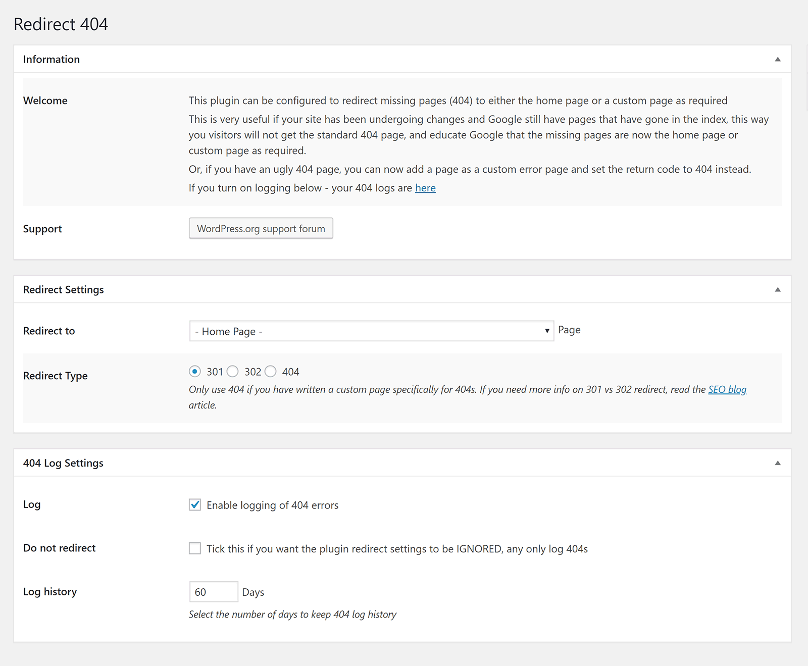 Redirect 404 Error Page to Homepage or Custom Page with Logs