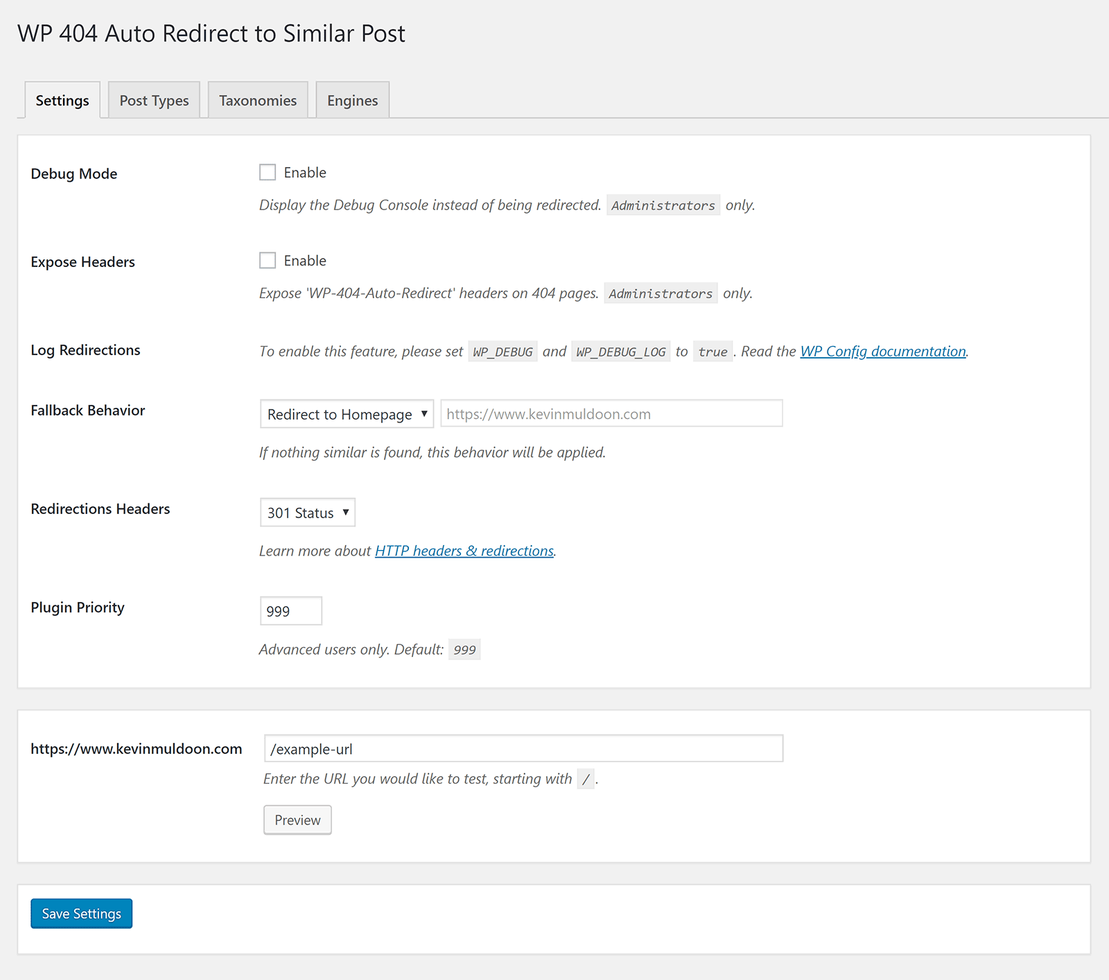 Settings for WP 404 Auto Redirect to Similar Post