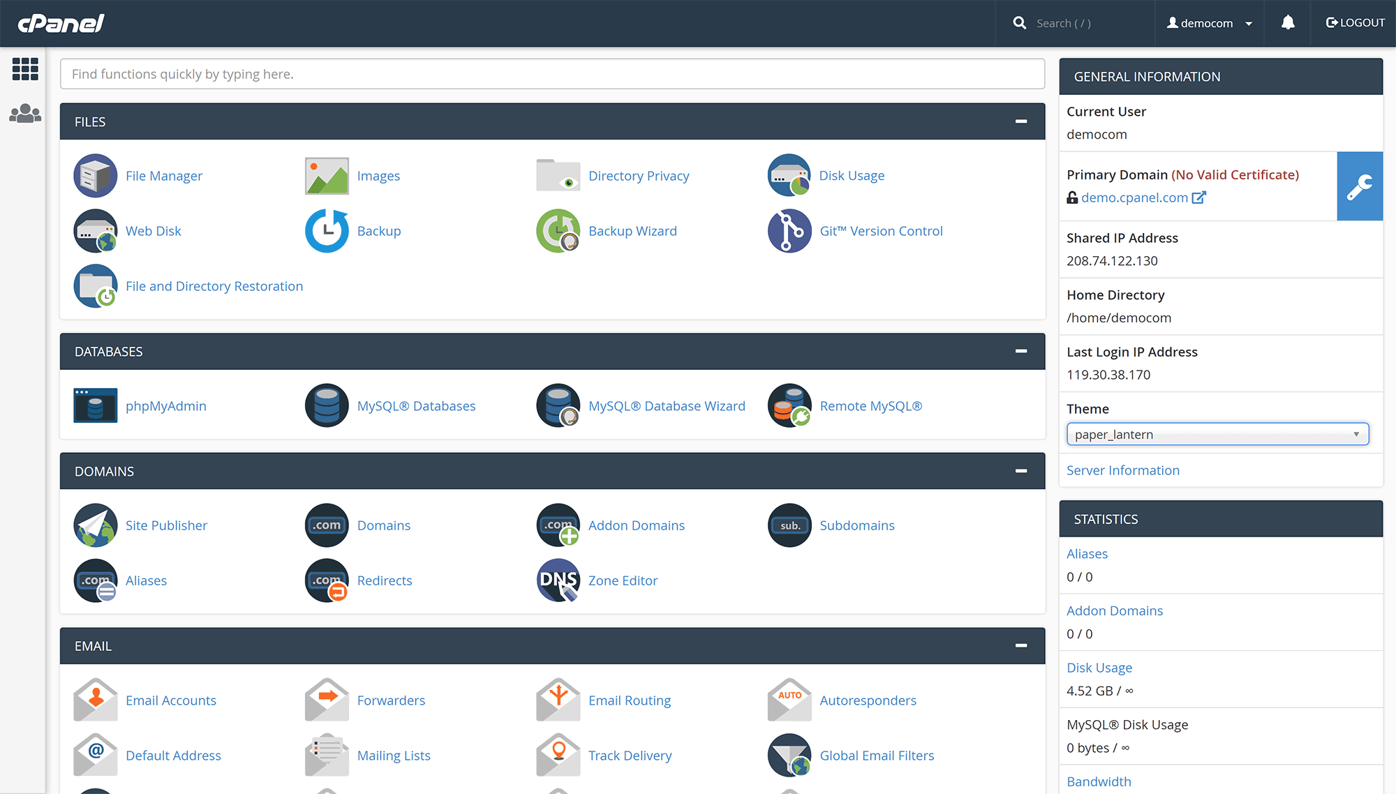 cPanel User Interface