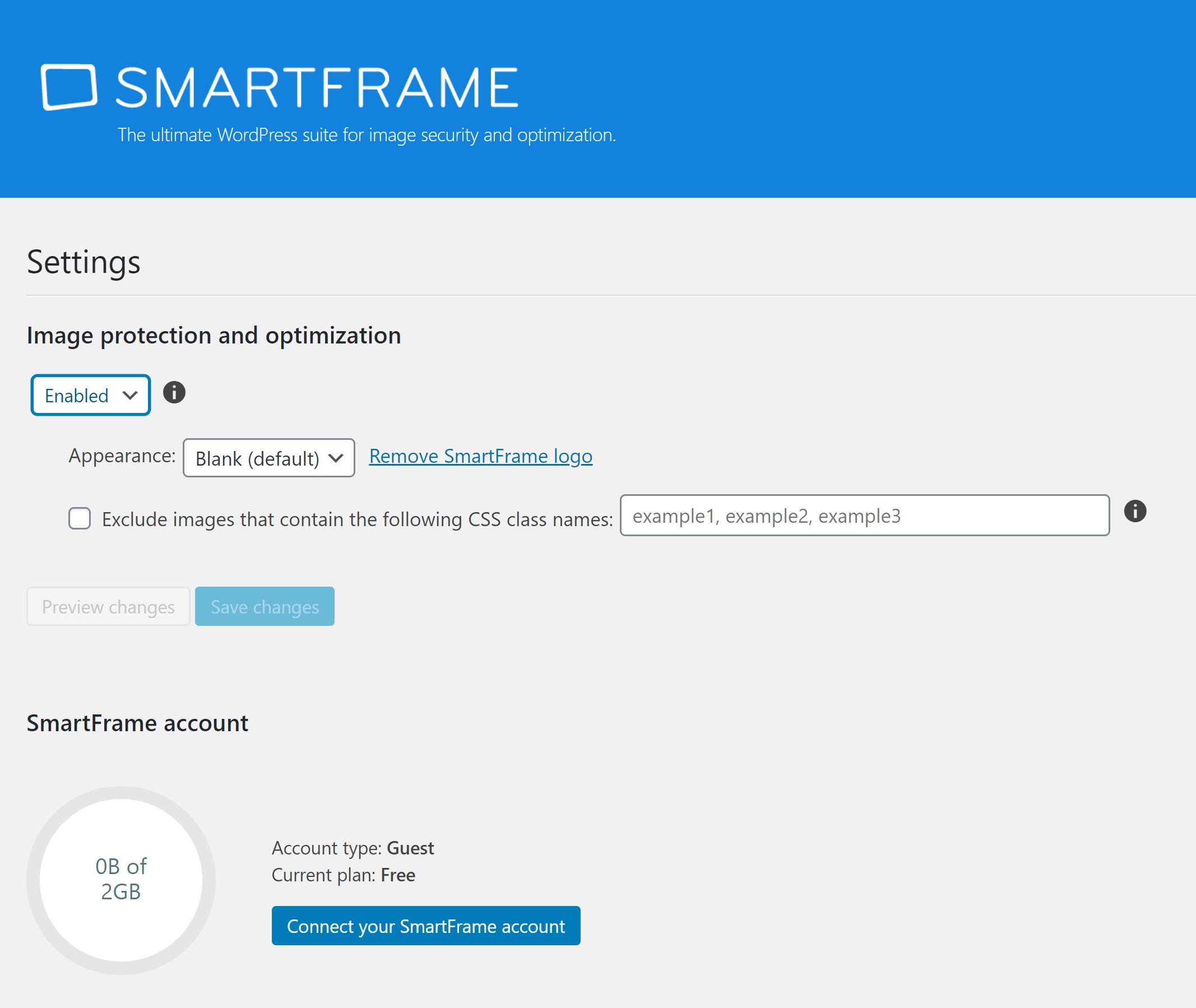 SmartFrame WordPress Settings