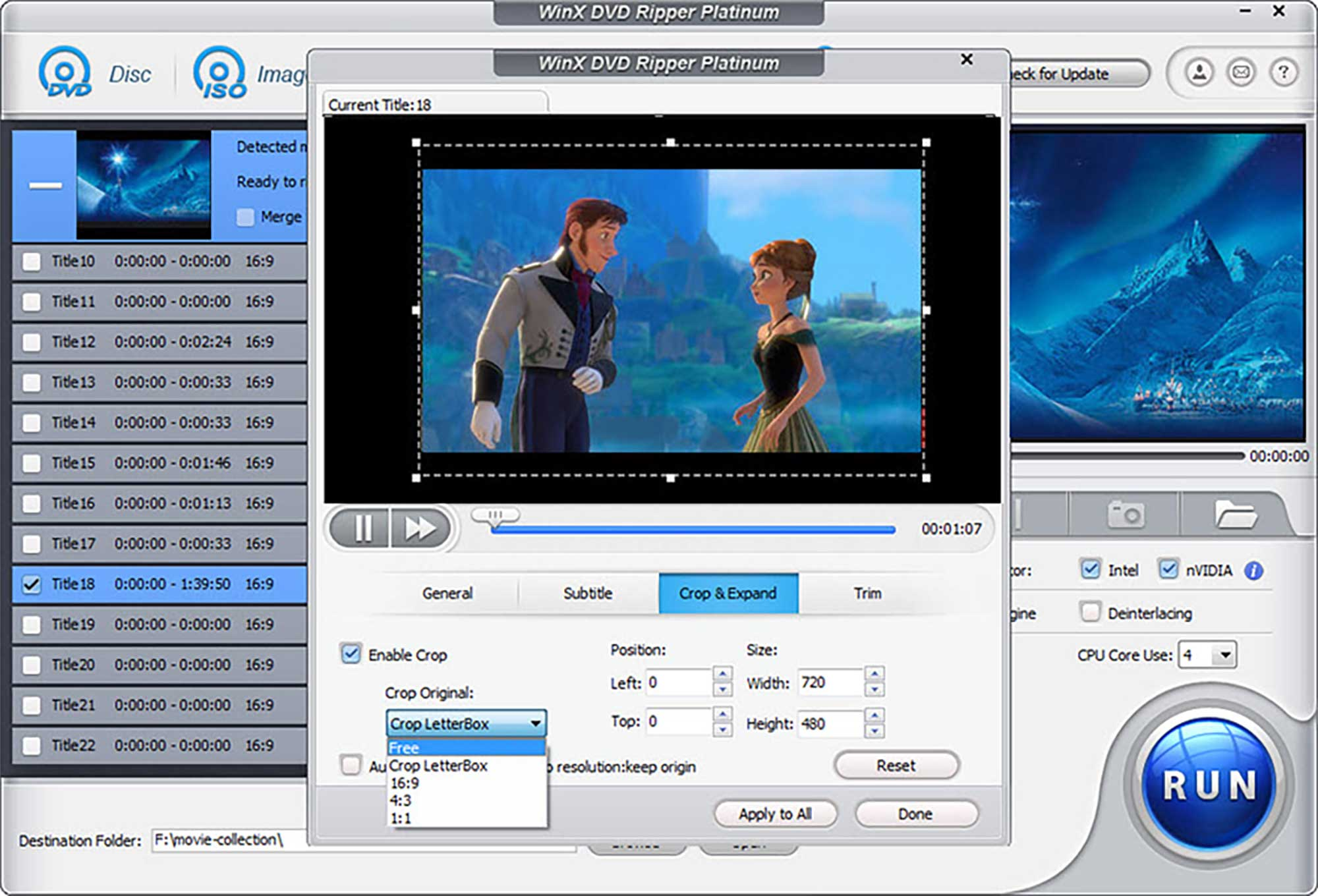 Cropping Video in WinX DVD Ripper