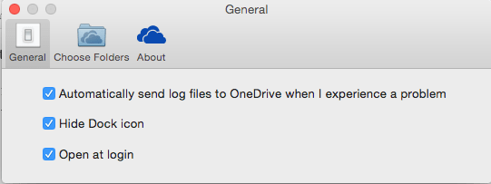 Put a check mark in Open at login to keep OneDrive running all the time.