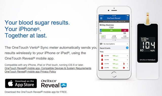 onetouch verio sync blood glucose monitor for iphone