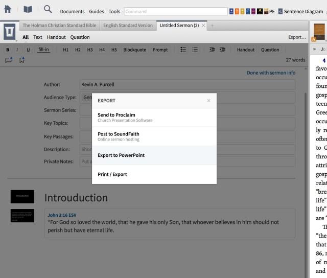 Logos 7 Sermon Editor Export Tool