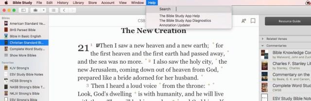 olive tree bible software help menu