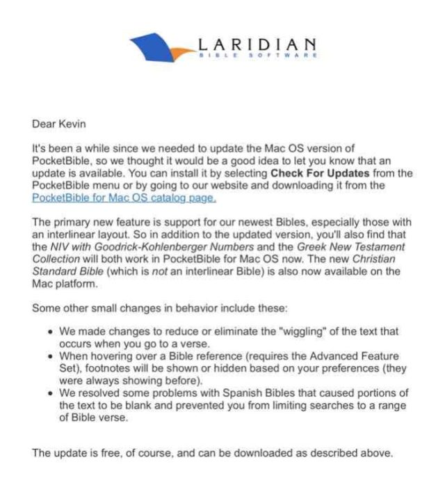 laridian pocketbible 1.3 for mac announcement