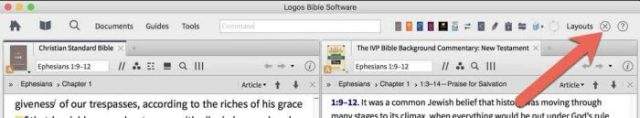 logos bible software close all panels button