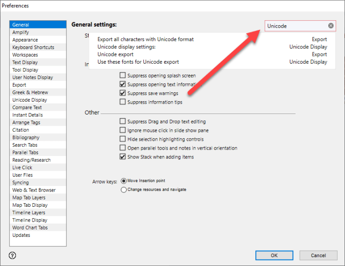 search inside preferences accordance 13
