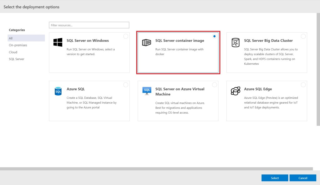 Select SQL Server container image in Azure data Studio