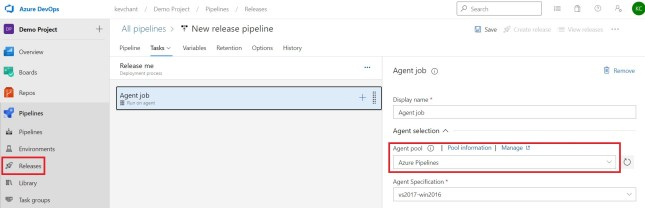 Selecting Agent pool in Release pipeline