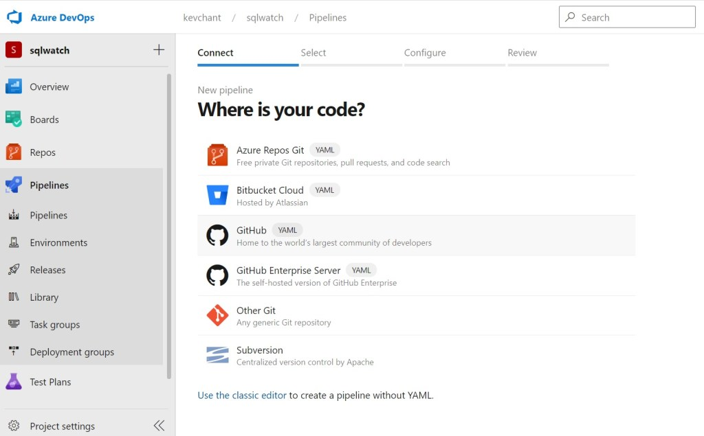 Stating where my code is for my pipeline to able to deploy SQLWATCH to SQL Server using Azure DevOps