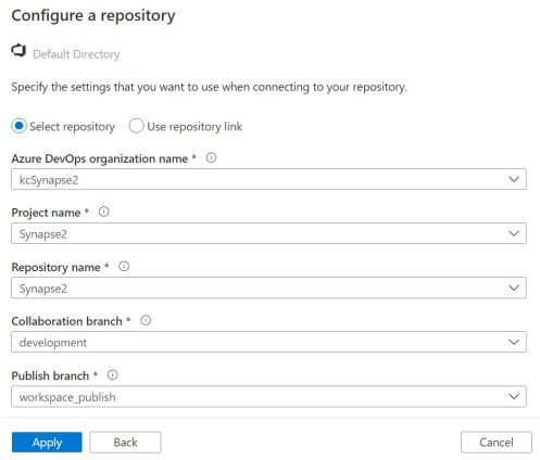 Configuring your personal Azure DevOps organization for Azure Synapse Studio Git integration