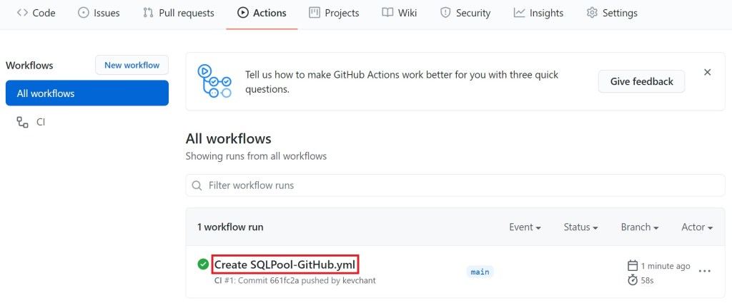 Creating a dacpac for an Azure Synapse Analytics dedicated SQL Pool using GitHub Actions