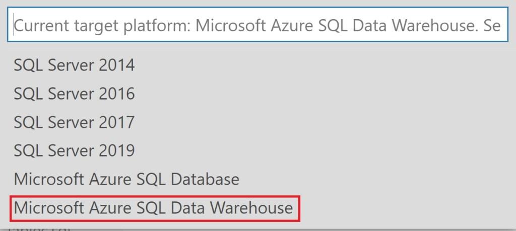 Select Microsoft Azure SQL Data Warehouse