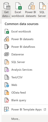 Get Data, followed by More to enter in the GitHub source in order to create one Power BI report for both Azure Boards and GitHub