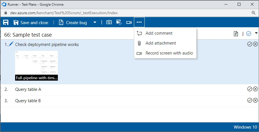 Using application within Azure Test Plans for Data Platform deployments