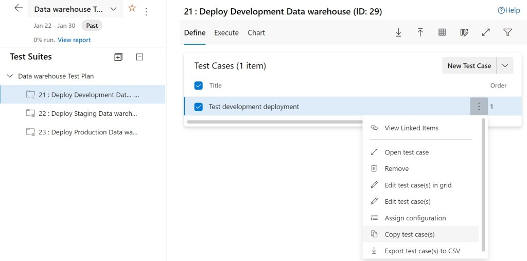 Selecting Copy test case(s) in Azure Test Plans