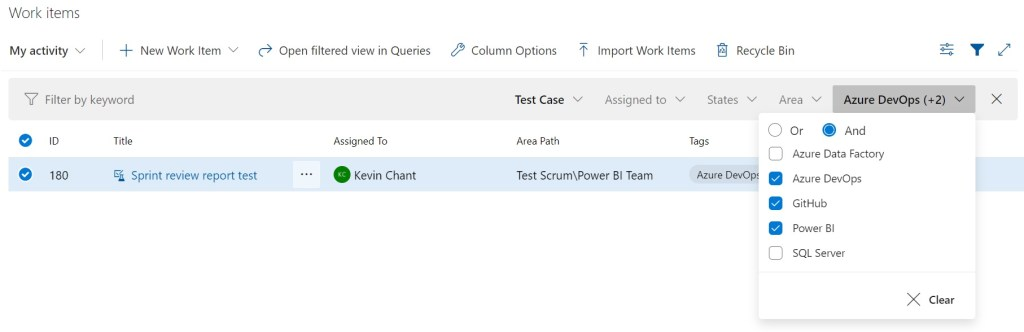 Filtering work items in Azure Boards