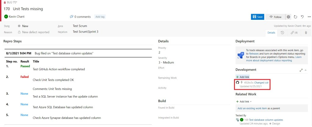GitHub commit shown in Azure DevOps bug