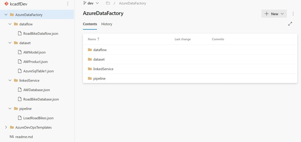 Azure Data Factory repository objects