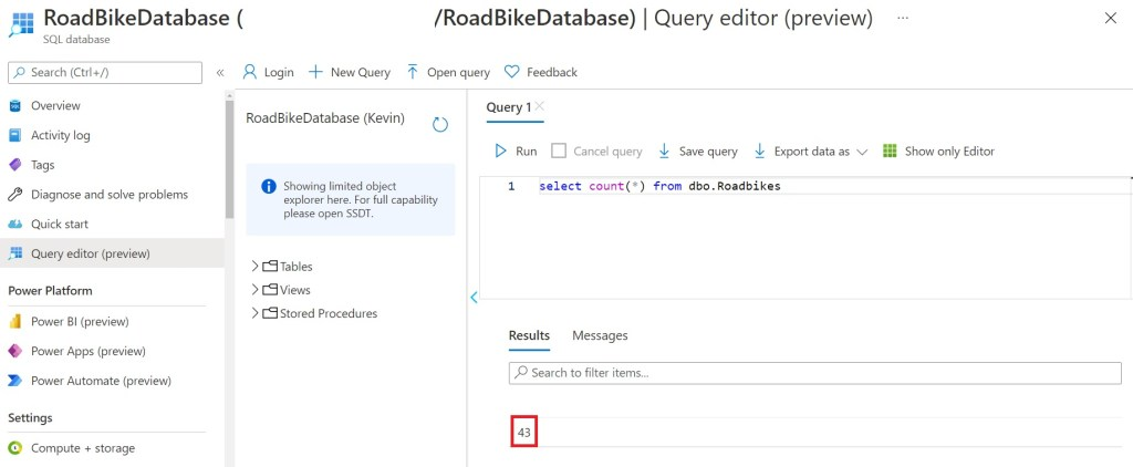 Checking rows existed using Query editor after copying an Azure Data Factory pipeline to Synapse Studio