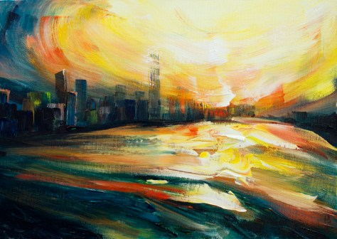 painting of sunset in Victoria harbour in Hong Kong