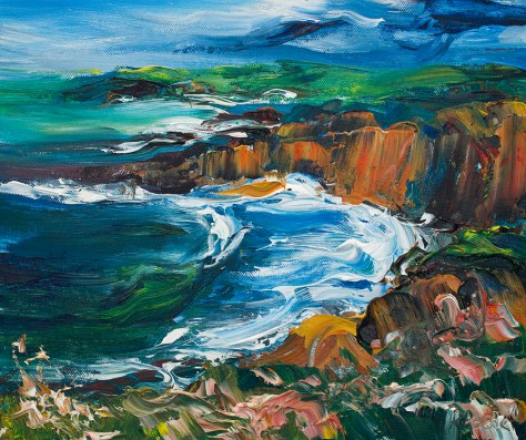 colourful acrylic painting of Copper Coast in Waterford