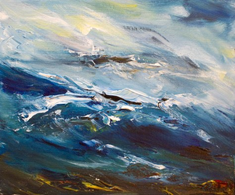 painting of stormy sea on the Sky Road in Galway