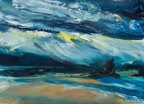 Painting of rainy weather at Tralee bay in Kerry