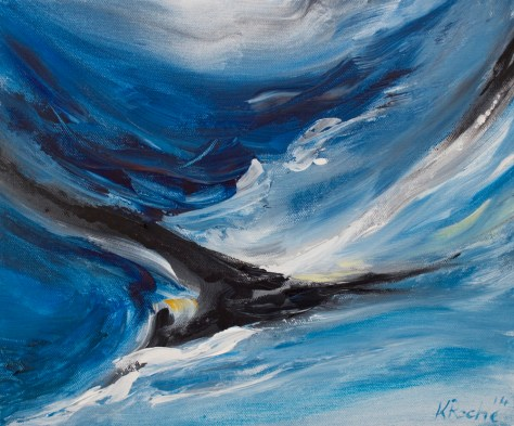 blue acrylic painting of gannett in flight