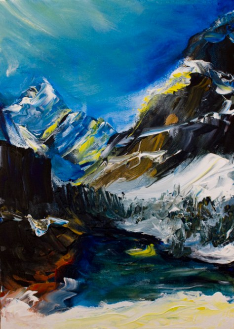 landscape painting of Canadian Rocky mountains