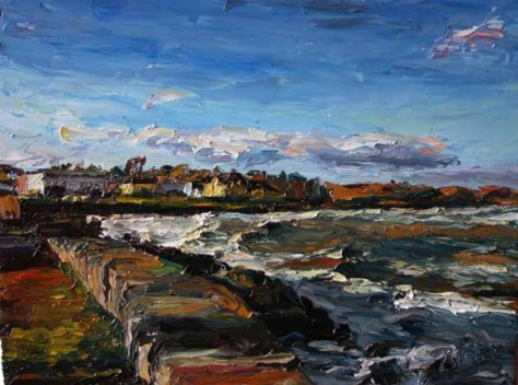 palette knife landscape painting of Courtown Harbour from the pier